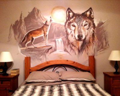 Bedroom Mural Wolves