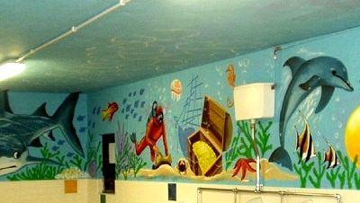 School Mural Underwater Scene