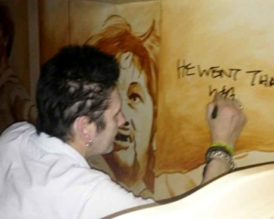 Shane MacGowan signing Mural
