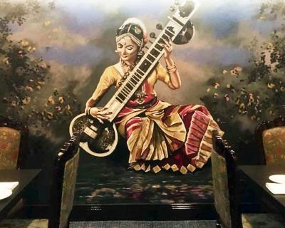 Sitar Lady Mural
